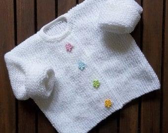 Baby Knitting. Little Flower Garter Stitch Cardigan. Hand Knitting Pattern. PDF