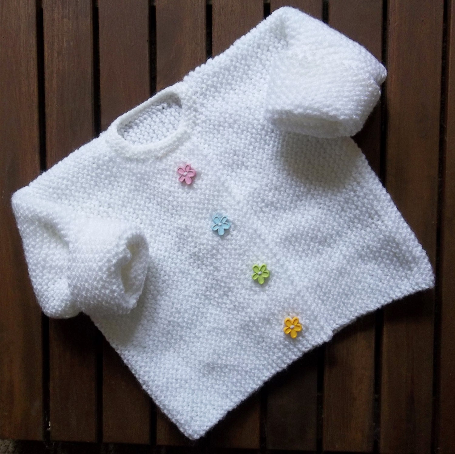 Knitting Pattern Baby Jacket Garter Stitch : Baby Knitting. Little Flower Garter Stitch Cardigan. Hand