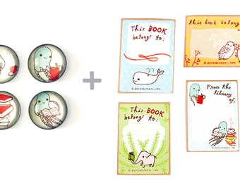 BOOK LOVERS Gift Set by boygirlparty, bookworm librarian reader book plates bookplates reading