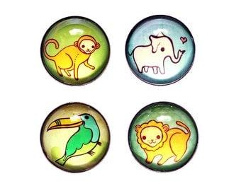 JUNGLE ANIMALS wild animals magnet set, toucan magnet, safari animal magnets, zoo animal, jungle animal art, jungle safari kid bedroom