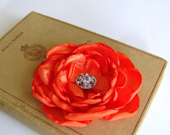 Orange Flower Hair Clip.Brooch.Pin.Bridesmaid.Headpiece.hair accessory.Tangerine Tango.tangerine.satin flower.wedding.fascinator.hair piece