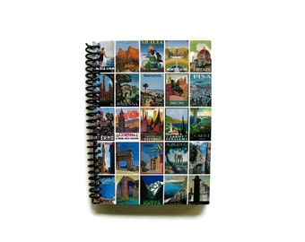 Italy Posters, Travel Journal, Blank Sketchbook, Writing Journal, Pocket Notebook, Spiral Bound Journal, Diary Journal, A6 Notebook