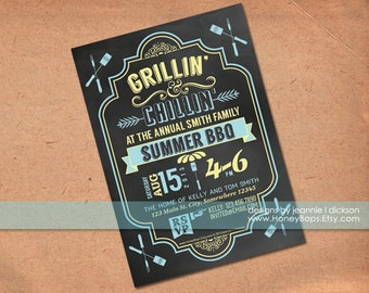 Chalkboard Summer BBQ invitation - Printable Digital File