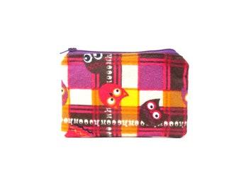 CLEARANCE  Mini Zipper Pouch / Cute Camera Bag in Plaid Owls