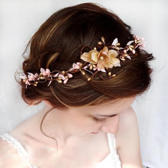 pink and gold wedding circlet bridal hair piece by ...