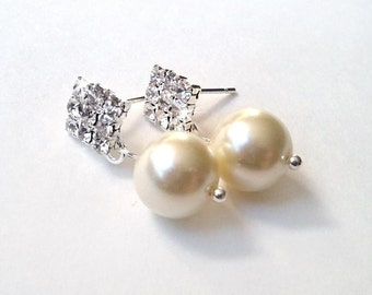 Classic Pearl Rhinestone Earrings - Custom Colors Available - Silver or  Gold - Simple Elegant
