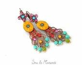 Luxury orange & colorful - Earrings dangle, chandelier, polymer clay, metal, rhinestones, bead