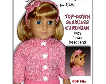 18 inch doll knitting pattern. Fits American Girl Doll. Top-Down, Instant Download 011