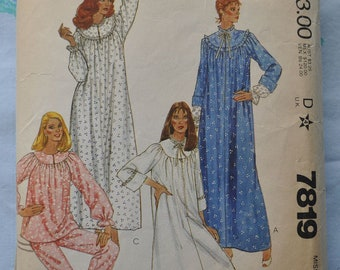 McCall's 7819 - Cozy Vintage Nightgowns, Robe, Pajamas - Warm for Winter - Vintage Pattern 1980s - Size Medium - SALE