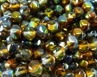8mm Faceted Magic Topaz Vintage Cut Czech Glass Beads - Qty 25 (BW71)