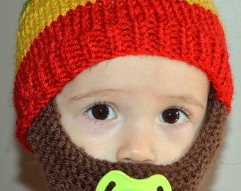Beard Hat, Beard Beanie, Kids-All Sizes, All Colors, Bearded Beanie, Bearded Hat, Bearded Cap