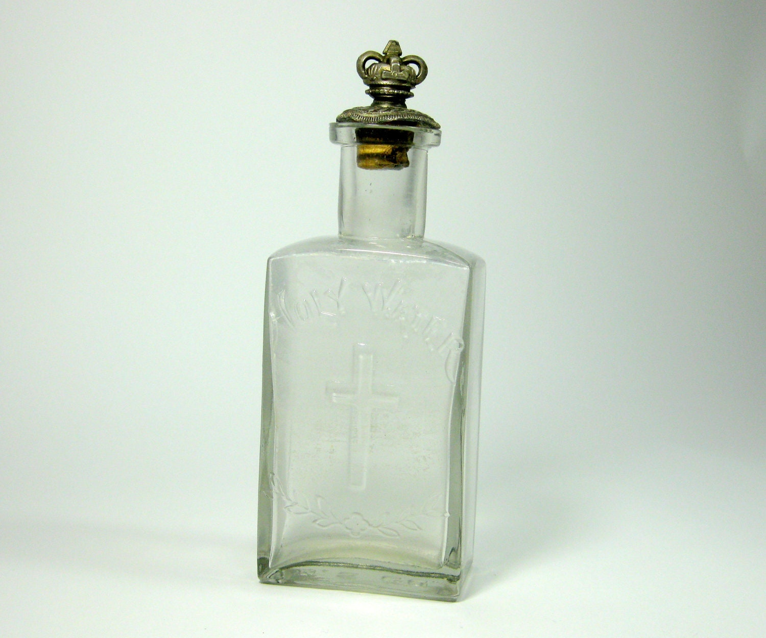 Antique Glass Holy Water Bottle