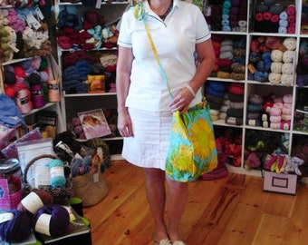 CUSTOM KNITTING Bag Apron - Made To Order From Your Fabric delivered to me. (1 ydx42-44 inches) Send Convo