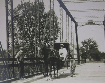 Man Crossing Lrg Bridge w/ Horse & Buggy - Hats - Real Photo Postcard - early 1900's