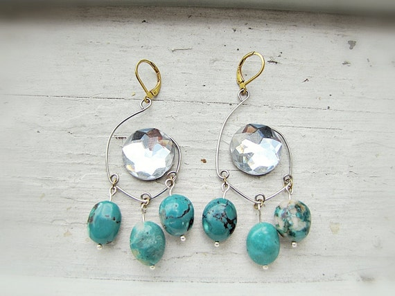 Chandelier Earrings with Turquoise and Rhinestone- Tribal Earrings- Southwest Earrings