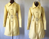 60s London Fog mod belted trenchcoat soft yellow sz lg xl