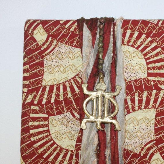 African Batik Fiber Art Wall Hanging - Akan Denkyem (crocodile) Adaptability Symbol