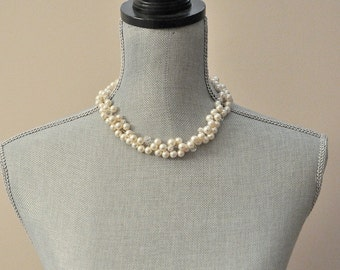 Pearl Wedding Necklace, Wedding Jewelry Necklace, Statement Wedding Necklace, Cluster Necklace