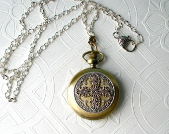 Pocket Watch Locket Necklace Earring Set Art Nouveau Silver Filigree Unique Vintage Wedding Bridesmaid of honor Woman's Anniversary Birthday