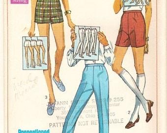 Vintage 60s Pattern -Proportioned Bermuda, Short Shorts & Slacks for Perfect Fit -Simplicity 7688 - Bonus How to Chart -Short Medium Tall