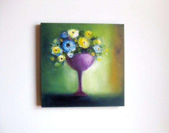 """oil painting, Lilac and Purple Floral Composition, 16x16"""" oil on gallery canvas original fine art painting, 40x40 cm"""