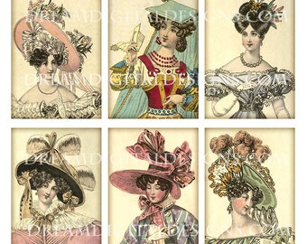Vintage Hat Fashion Clip Art, Digital Download, Gift Tags, Fashion Collage Sheet, Scrapbooking Printable Gift Tags