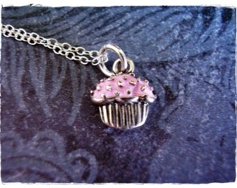 Tiny Pink Cupcake Necklace - Pink Enameled Sterling Silver Cupcake Charm on a Delicate 18 Inch Sterling Silver Cable Chain