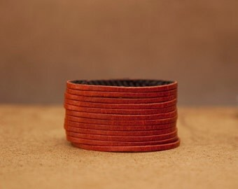 Orange Multi-strand Women's Leather Cuff Bracelet  - Stocking Stuffer
