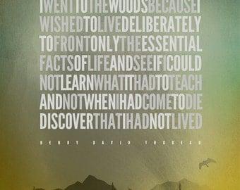 "Henry David Thoreau – I went to the woods... [No.2] Hiking / Typographic / Nature / 8""X10"" / Digital Print"