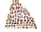 "We move mountains Print of original watercolor 8 x 11"" triangle pebbles giclee print harvest"