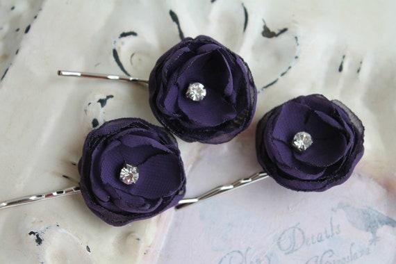 Similar Design: Wedding Hair Flower Eggplant Purpleplum Chiffon Hair ...