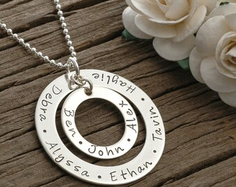 Mother's Day Jewelry, Large Family  - Personalized -  Double Washer Style Necklace - Sterling Silver, mother's day gift, gifts for mom