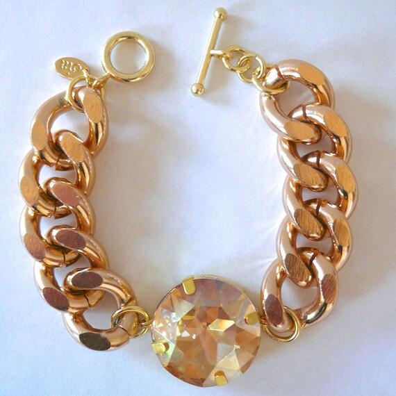 Rose Gold Chunky Chain & Rhinestone Bracelet
