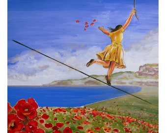 The sower of Red poppies, Summer flowering, Tightrope walker, Original illustration Artist Print Wall Art, Free Shipping in USA.