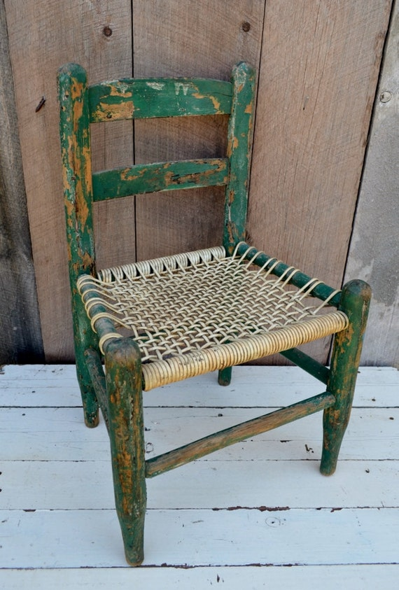 Green Child S Chair Woven Seat Chippy By Relicsandrhinestones