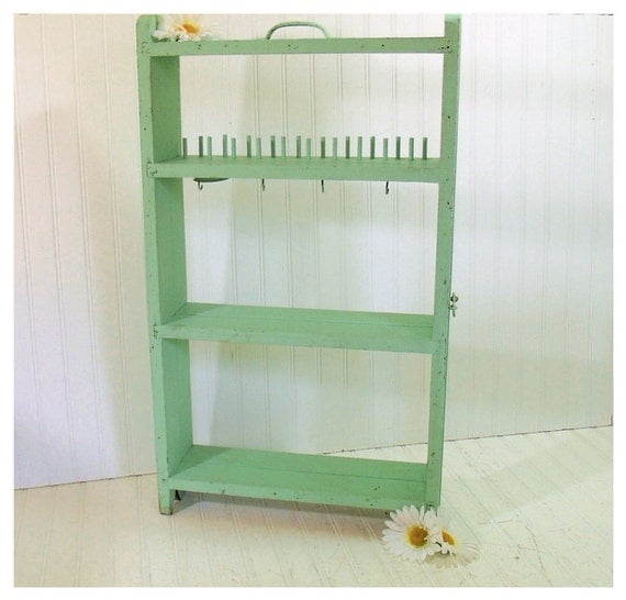 Vintage Aqua Sea Foam Chippy Paint Craft Center - HandMade Wooden Expanding Carry All - Cottage Shabby Chic Shelving - Art Show Display