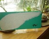 FLY, Wings Painting on Wood, Desk top Art, WINGS, Book Shelf Art, Original Art, Wood Block Art, FLY, Inspirational Art