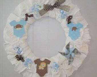 Baby Boy Diaper Wreath-Boy Baby Shower Decoration-Baby Boy Gift