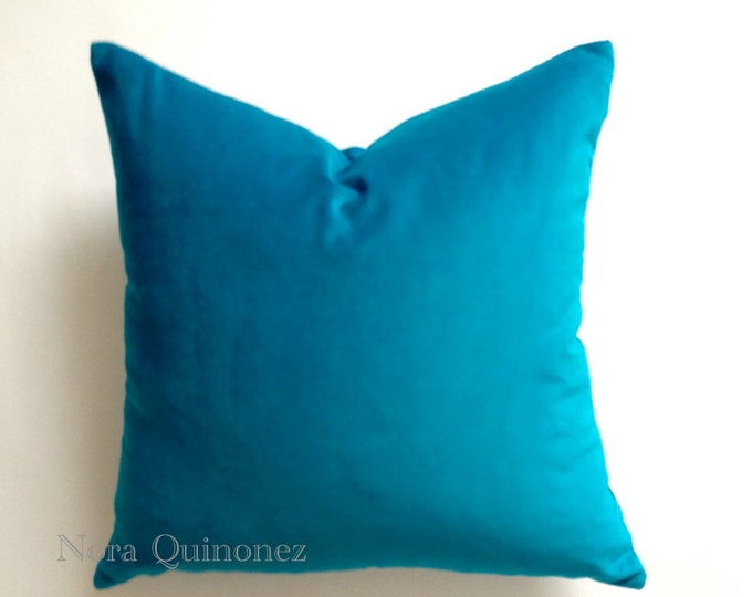 Aqua Blue Decorative Throw Pillow Cover -16x16 To 26x26  Medium Weight Cotton Velvet -Invisible Zipper Closure- - Knife Or Piping Edge