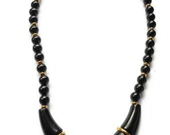Vintage Necklace Napier Jet Black and Gold Egyptian Style Bib 1970s