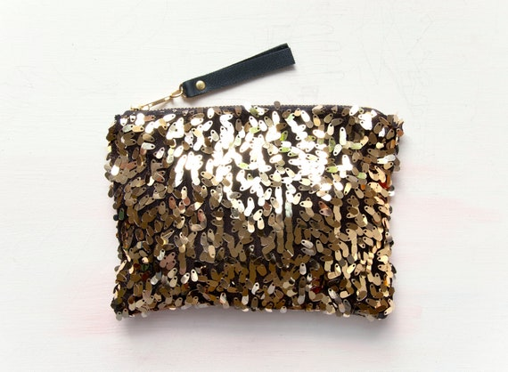 SALE. G O L D Sequin Clutch. Gold Metallic Clutch. Sequin and Velvet Pouch.