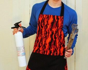 Mens Apron, Orange Flames Reversible Apron