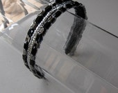 Black and Silver Stone Crystal Sequin Headband, for weddings, parties, evening, special occasions