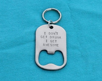Personalized Gift For Him Bottle Opener Keychain - Wedding Best Man Groomsman Birthday Gift