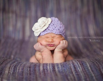 baby hats, girls hats, baby hat, newborn, newborn girl, crochet baby hat, newborn girl hat, hat with flower, purple hat