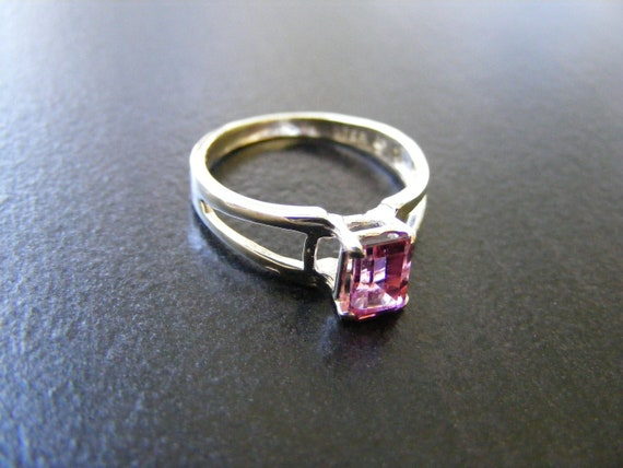 15% Off Sale.S43 Made to Order...Solid Sterling Silver or Solid Gold Simple Designed Ring with Lab Pink Sapphire Gemstone