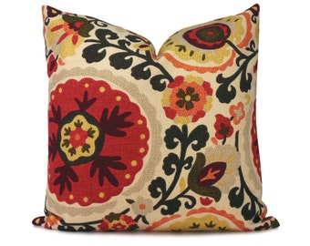 ON SALE - 25% OFF - Red, Orange and Green Suzani Pillow Cover - Cavallo Spice - Decorative Pillow - Throw Pillow
