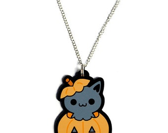 Halloween Black Cat in a Jack-O-Lantern Necklace, Kawaii Kitty in a Pumpkin Pendant