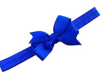 Blue bow headband - blue baby bow headband, baby headband, newborn headband, baby bow headband, blue headband