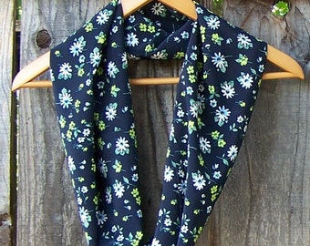 Floral infinity scarf upcycled eco redesigned womens clothing ditsy floral dark navy blue eternity circle cowl